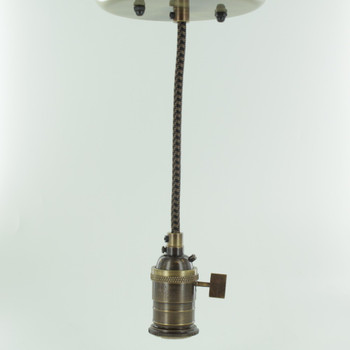 Antique Brass Single Turn Knob Uno Pendant Fixture with 10ft. Black/Brown Houndstooth Fabric Wire