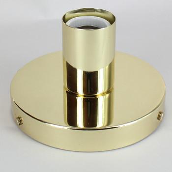 1 Light Flush Surface Mount Polished Brass Plated Fixture