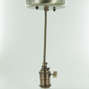 Antique Brass Single Turn Knob Uno Pendant Fixture with 10ft. Black/Gold Houndstooth Fabric Wire