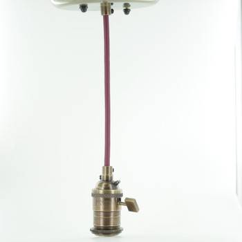 Antique Brass Single Turn Knob Uno Pendant Fixture with 10ft. Burgundy/Wine Fabric Wire