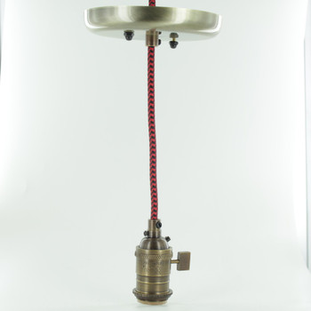 Antique Brass Single Turn Knob Uno Pendant Fixture with 10ft. Black/Red Houndstooth Fabric Wire
