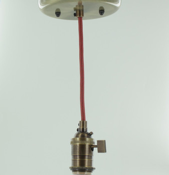 Antique Brass Single Turn Knob Uno Pendant Fixture with 10ft. Brown/Red Zig-Zag Fabric Wire
