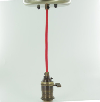 Antique Brass Single Turn Knob Uno Pendant Fixture with 10ft. Red Fabric Wire