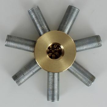 7 - 1/8ips Side Holes x 1/4ips Bottom Hole Disc Armback - Unfinished Brass
