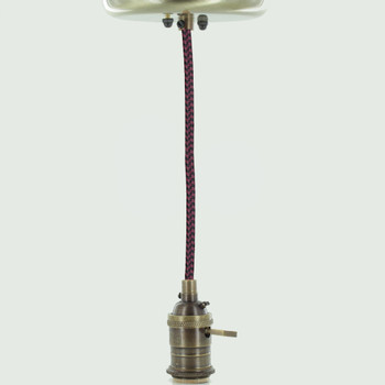 Antique Brass Single Turn Knob Uno Pendant Fixture With 10ft. Black/burgundy Houndstooth Fabric Wire