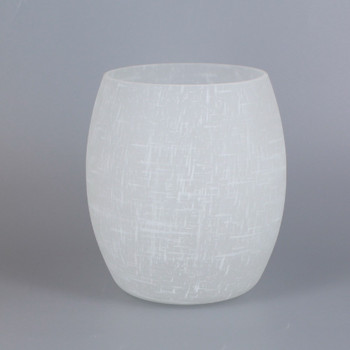 White Linen Barrell  Glass Shade with 1-5/8in Hole.
