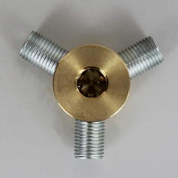 3 -1/4ips Side Holes x 1/4ips Bottom Hole Disc Armback - Unfinished Brass