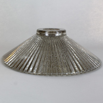 10in Diameter Ribbed antique mirror glass cone shade with 1-5/8in Hole