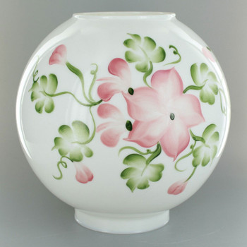 10in. Open Ball with Green Mist and Beige and Pink Hand Painted Flowers and 4in. Bottom Fitter