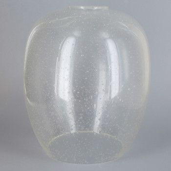 6.22in Diameter X 7.13in Height Clear Seeded Glass Barrel Shade with 1-5/8in Hole
