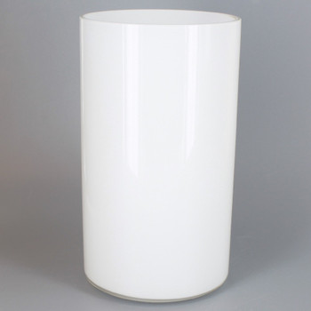 3.94in Diameter X 6.97in Height White Opal Cylinder Glass Shade with 1-5/8in Hole