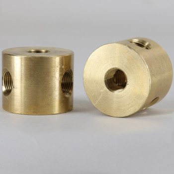 3 - 1/8ips Side Holes x 1/8ips Top and Bottom Hole Disc Armback - Unfinished Brass