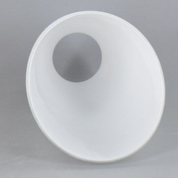 White Angled Design Glass Shade with 2-1/4in Necked FItter. Glass Shade