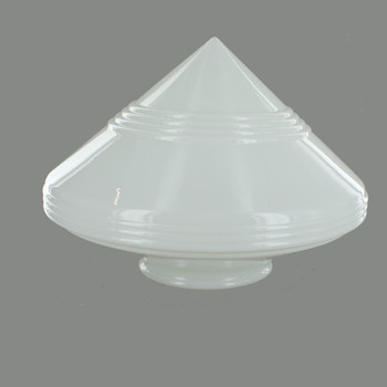 14in Wide Opal Lined Pointed Glass Shade with 6in. Neck