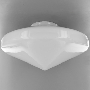 14in. Opal Flying Saucer Pointed Glass Shade with 6in. Neck