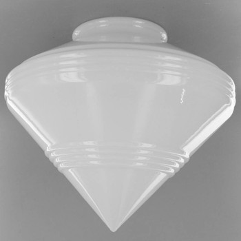 Opal Lined Pointed Glass Shade with 4in. Neck