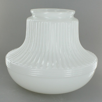 Opal White Long Scalloped Rounded Glass Shade with 4in. Neck