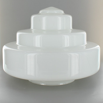 12in. Opal Milk White Wedding Cake Glass Shade with 6in. Neck