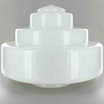 14in. Opal Milk White Wedding Cake Glass Shade with 6in. Neck