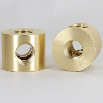 2 - 3/8ips Side Holes X 3/8ips Top and Bottom Holes 4-WAY Disc Armback - Unfinished Brass