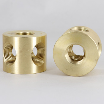 4 - 3/8ips Side Holes X 3/8ips Top and Bottom 90 Degree Armback - Unfinished Brass