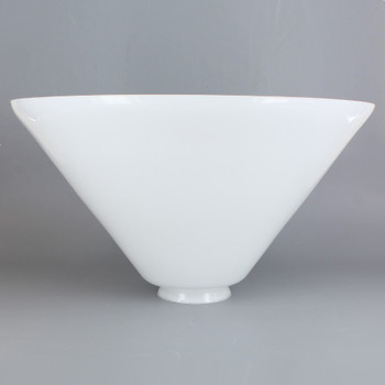 9-3/4in Diameter White Cased Glass Cone Shade with 2-1/4in Fitter.