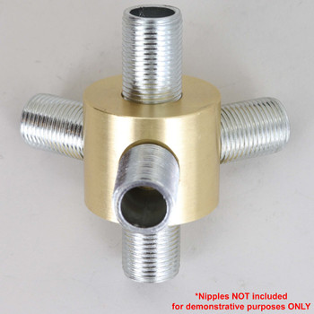 3 - 3/8ips Side Holes X 3/8ips Top and Bottom Holes 120 Degree Disc Armback - Unfinished Brass