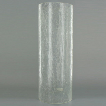 12in Tall X 4-1/2in Diameter Clear Crackle Glass Cylinder
