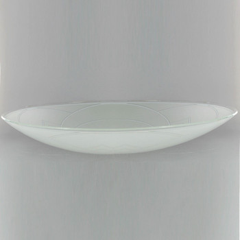 14-3/4in. Glass Dish Shade with Design and 7/16in. Hole
