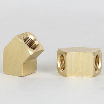 1/8ips Female Threaded - Rounded Brass 45 Degree Armback - Unfinished Brass