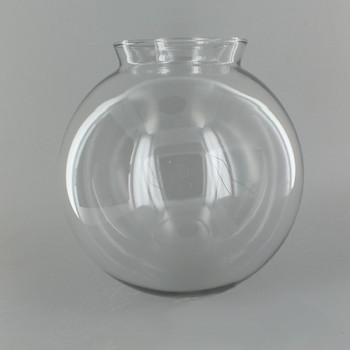 6in Hand Blown Glass Ball with 3-1/4in Neck - Clear