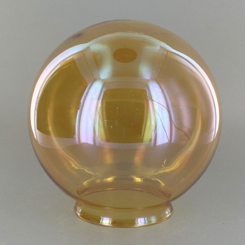 6in Hand Blown Glass Ball with 3-1/4in Neck - Amber