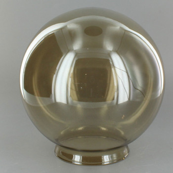 6in. Hand Blown Glass Ball with 3-1/4in. Neck - Smoked