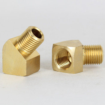 1/4ips Female to Male Threaded - Rounded Brass 45 Degree Armback - Unfinished Brass