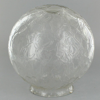 6in Hand Blown Glass Ball with 3-1/4in Neck - Clear Crackle