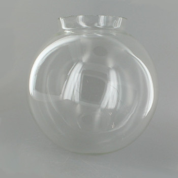 6in. Hand Blown Glass Ball with 3-1/4in. Neck - Clear - Made in USA