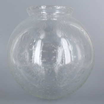 6in Hand Blown Glass Ball with 3-1/4in Neck - Clear Seeded