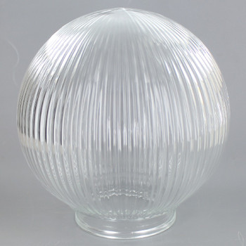6in Hand Blown Glass Ball with 3-1/4in Neck - Clear Prismatic Holophane