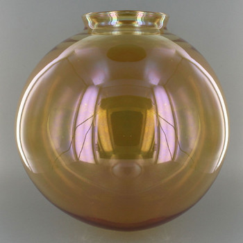 10in. Hand Blown Amber Glass Ball with 4in. Neck