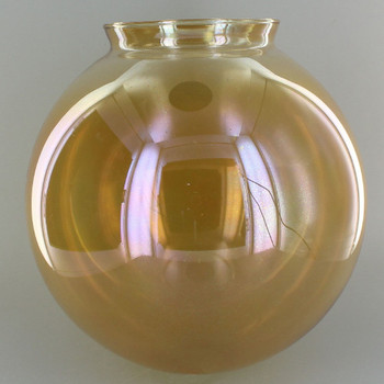 8in. Hand Blown Amber Glass Ball with 4in. Neck
