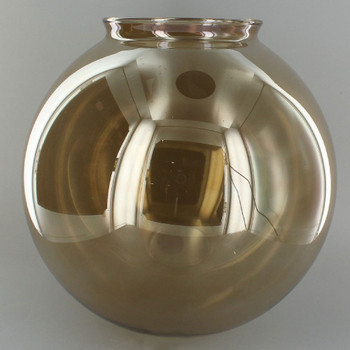 8in. Hand Blown Smoked Glass Ball with 4in. Neck