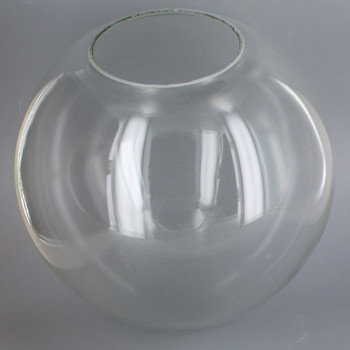 10in Hand Blown Neckless Glass Ball with 4in. Neckless Opening - Clear - Made in USA