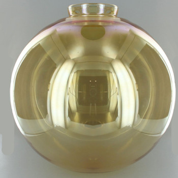 12in. Hand Blown Amber Glass Ball with 4in. Neck