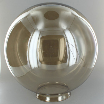 10in. Hand Blown Smoked Glass Ball with 4in. Neck