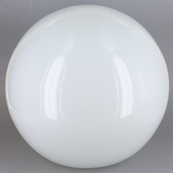 10in. Hand Blown Neckless Glass Ball with 4in. Neckless Opening - Opal White - Made in USA