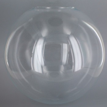 16in. Hand Blown Neckless Glass Ball with 5-1/4in. Neckless Opening - Clear - Made in USA