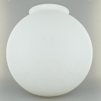 14in. Hand Blown Satin Opal Matte Glass Ball with 6in. Neck