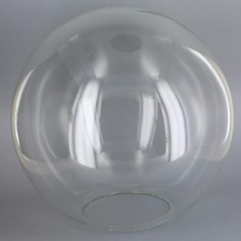 14in. Hand Blown Neckless Glass Ball with 5-1/4in Neckless Opening - Clear - Made In Usa