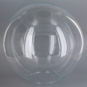 14in. Hand Blown Neckless Glass Ball with 5-1/4in Neckless Opening - Clear - Import