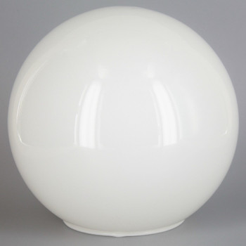 14in. Hand Blown Neckless Glass Ball with 5-1/4in Neckless Opening - Opal Gloss - Made in USA